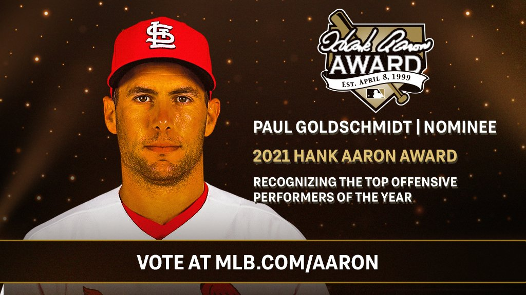 Our guy, Goldy, is up for the Hank Aaron Award and he needs your vote! Vote Goldschmidt 🗳️ mlb.com/aaron