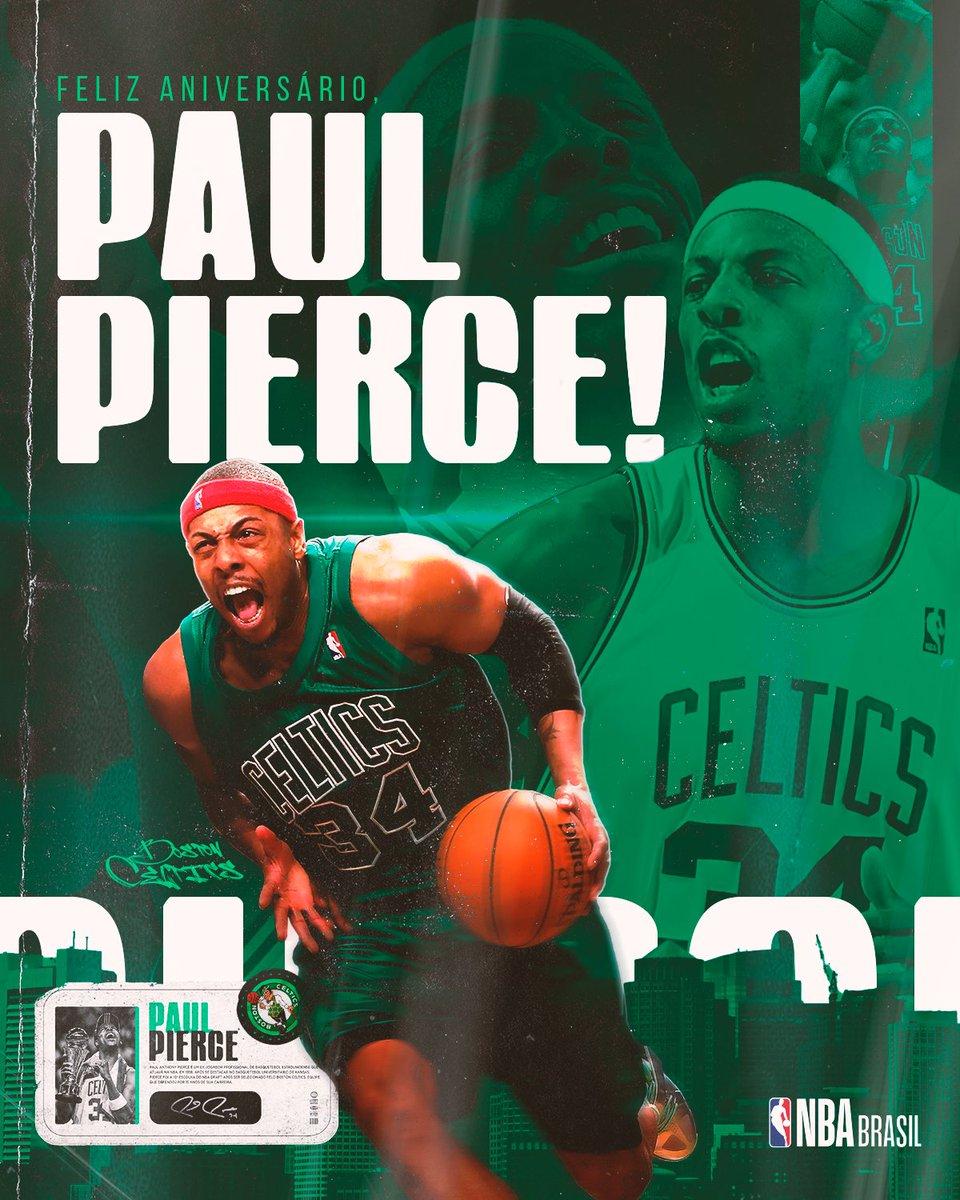 Feliz aniversário, @paulpierce34! 🎉☘  O campeão e MVP das #NBAFinals de 2007-08 com os @celtics comemora 44 anos! Deixe o seu parabéns para The Truth!   #NBABDay #BleedGreen