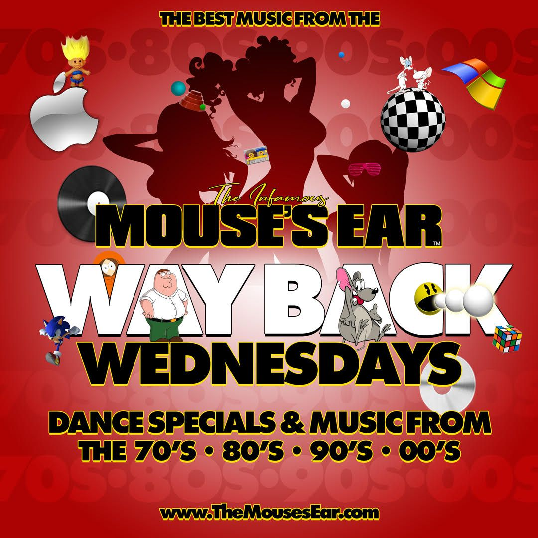 It's WAY BACK WEDNESDAY at the Mouse's Ear! We're dancing to all of your favorite hits from the 70's to the early 00's. Come take a walk down memory lane with us this humpday. . . . #WayBackWednesday #Humpday #Sexy #MousesEar #Knoxville #StripJoint