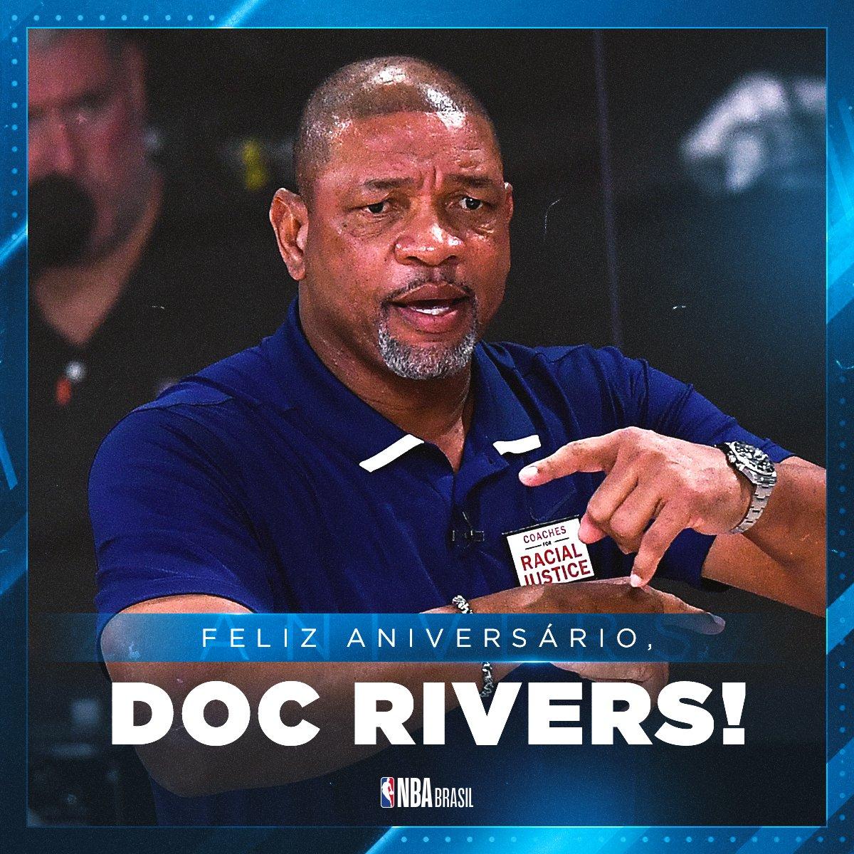 Feliz aniversário, @DocRivers! 🥳  O treinador dos @sixers completa 60 anos nesta quarta-feira! Deixe o seu parabéns!   #NBABDay #HereTheyCome