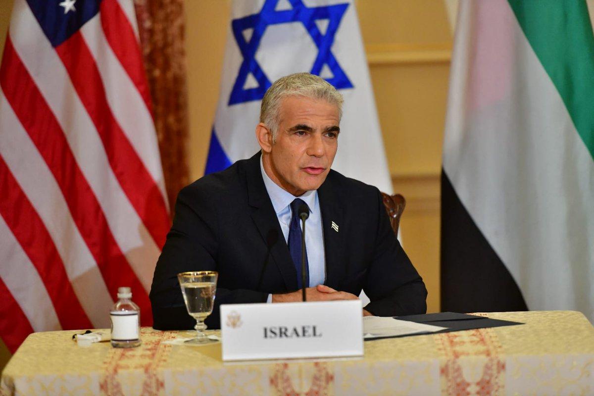"""وزير الخارجية الإسرائيلي @yairlapid في واشنطن: """"إن الشراكة بين إسرائيل والإمارات"""
