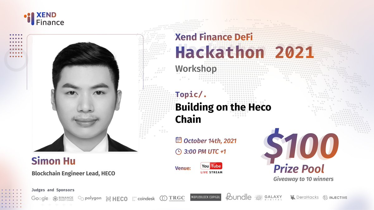 """🙏We welcome @HECO_Chain supporting African ecosystem as a judge in our #Hackathon & workshop: """"Building on the HECO Chain"""" with Simon Hu, Lead Blockchain Engineer at @HECO_Chain Join the Livestream! Set Reminder: 14th Oct 2021, 3 PM UTC+1 Watch Free📺youtu.be/Yz_G38_uaCQ"""