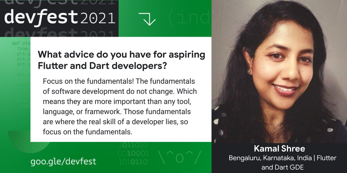 👏 The pro tip all developers need to hear! @whatsupcoders, @GoogleDevExpert for @flutterdev and @dart_lang, is ready to help you level up your #Flutter and #Dart skills at #DevFest. Don't miss her session at #DevFestIndia on October 24th! ✨ Register → goo.gle/2YPj2l1