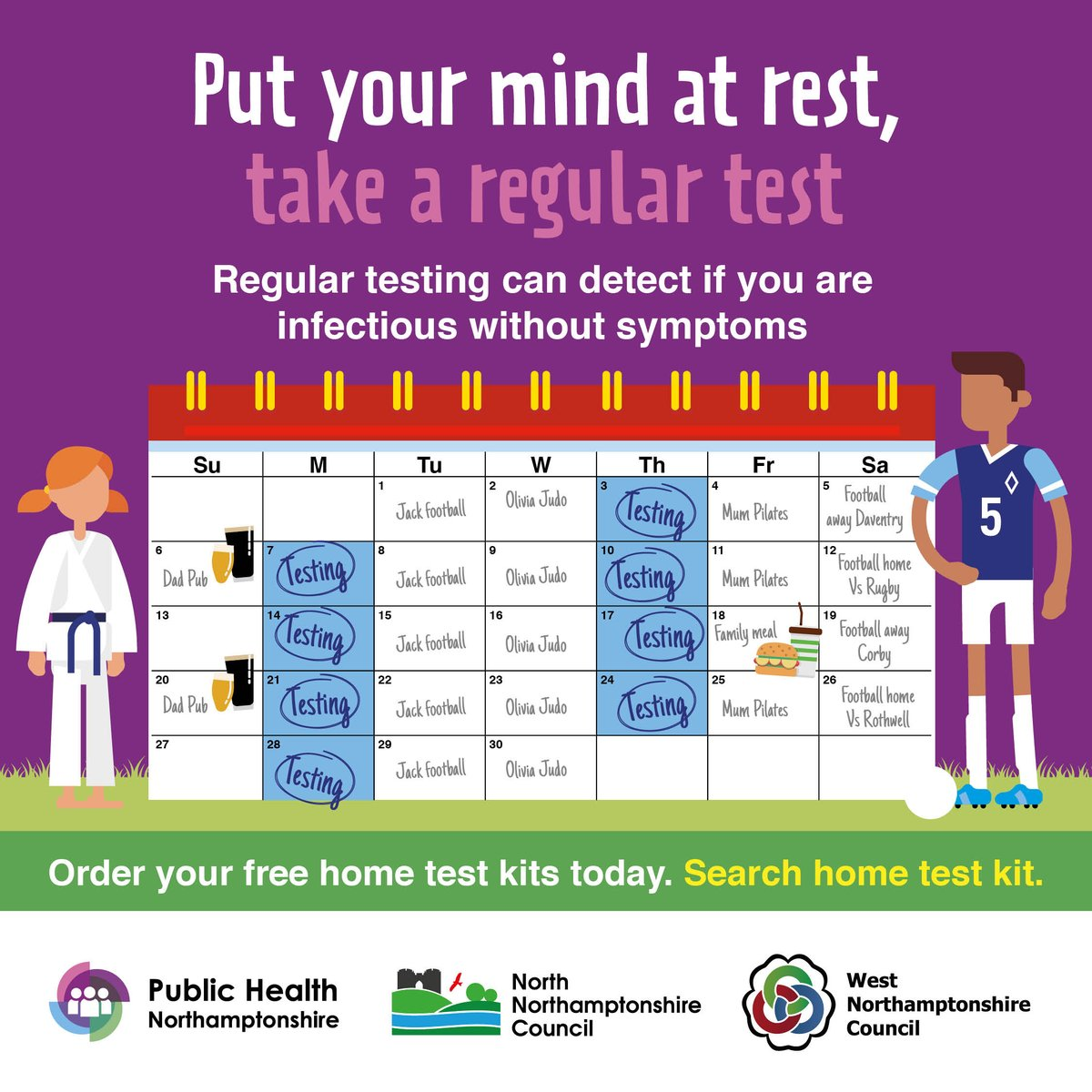 """Getting back to sport, means you're likely to be mixing with different people.  Testing regularly is the best way to help keep you and others safe!  You can get your free Covid test kits in most pharmacies and online by searching """"home test kit""""  @NNorthantsC @WestNorthants"""