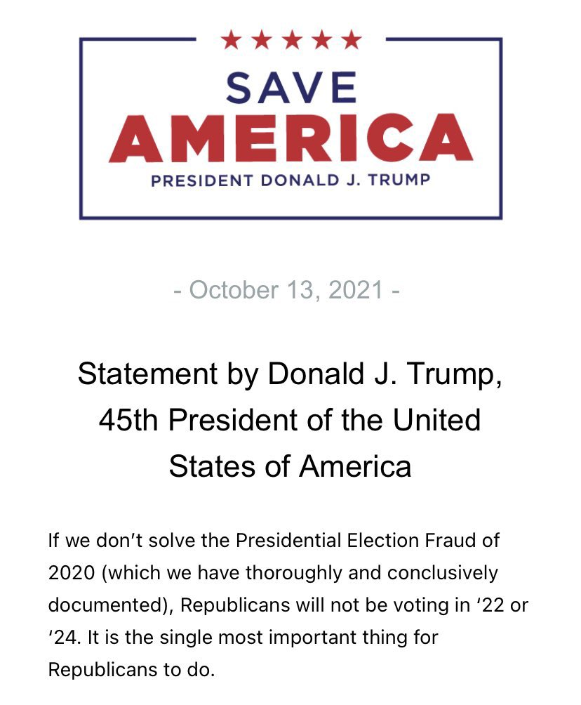 I don't normally share Trump's bullshit, but this is a brilliant idea. Don't vote in '22 or '24 if you want to own the libs.