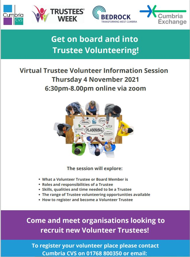 test Twitter Media - Cumbria CVS and Cumbria Exchange are holding a Virtual Trustee Volunteer Trustee Information Session on Thursday 4 November, 6.30pm-8pm, online via zoom.  To register your volunteer place at this event please contact Cumbria CVS on 01768 800350 or email: info@cumbriacvs.org.uk https://t.co/2ErSQdfaNR
