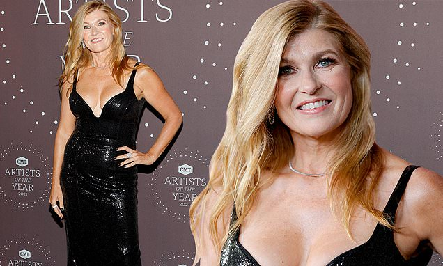 Connie Britton puts on a busty display as she radiates glamour at starry CMT Artist Of The Year