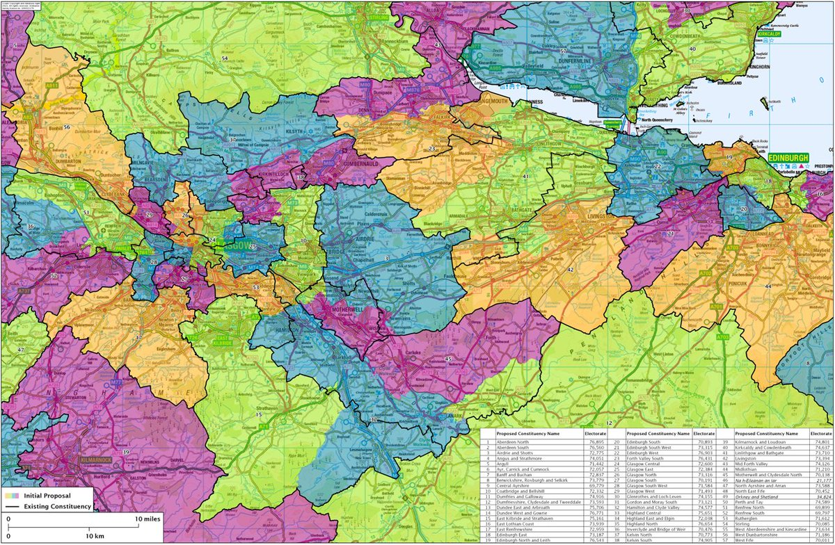 The initial proposals for Scotland's new (Westminster) election map - 'significant' changes across the board to fit into the 2020-electorate quota for constituency size. Old boundaries in black, new ones in colour - only nine seats are untouched while two disappear entirely