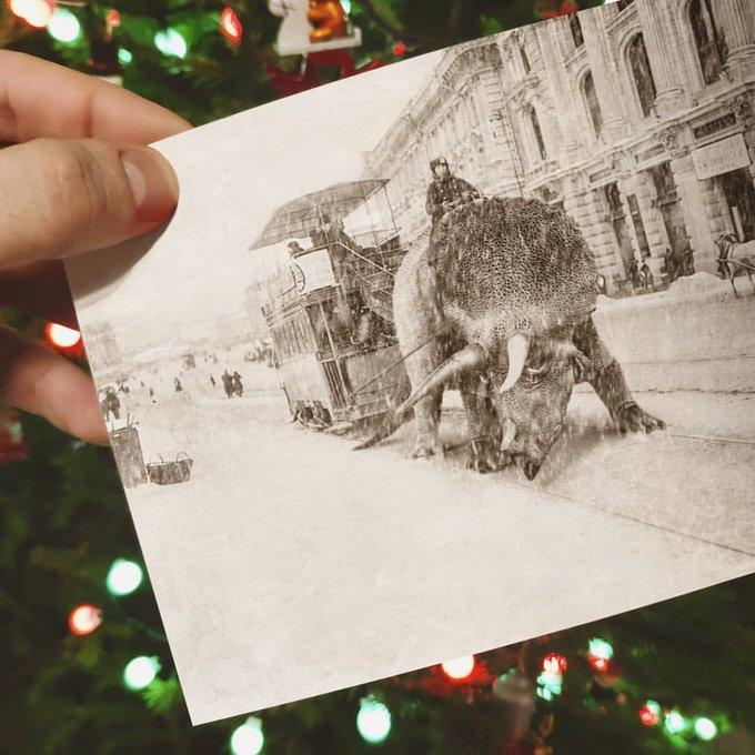 Happy Birthday, Always ride on top of Triceratops. Photo collage by solovyewvadim on Instagram