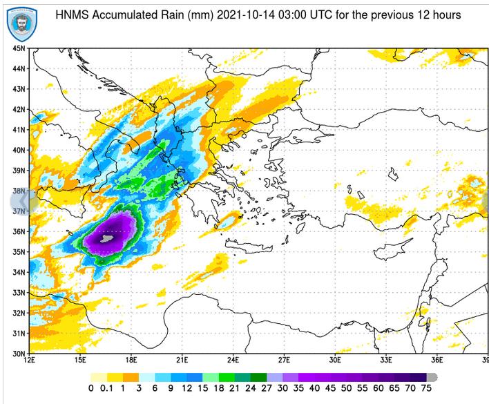 Οι κορυφές των καταιγίδων ξεπερνούν τα 30000ft στα δυτικά νότια , ενώ πάνω από 75 mm βροχής το 12ωρο καταγράφει ο μετεωρολογικός δορυφόρος @EMY_HNMS @GSCP_GR