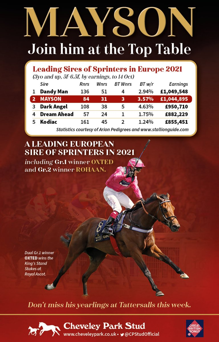 🔴MAYSON🔴  ⏩ A Leading Sire of Sprinters in Europe in 2021 ⏩  Dual Gr.1⃣ winner OXTED   Plus Gr.2⃣ winner ROHAAN and Gr.2⃣ placed AINSDALE, who both contest the British Champion Sprint Stakes @Ascot on Saturday 🌟  Do not miss his yearlings selling @Tattersalls1766 this week!