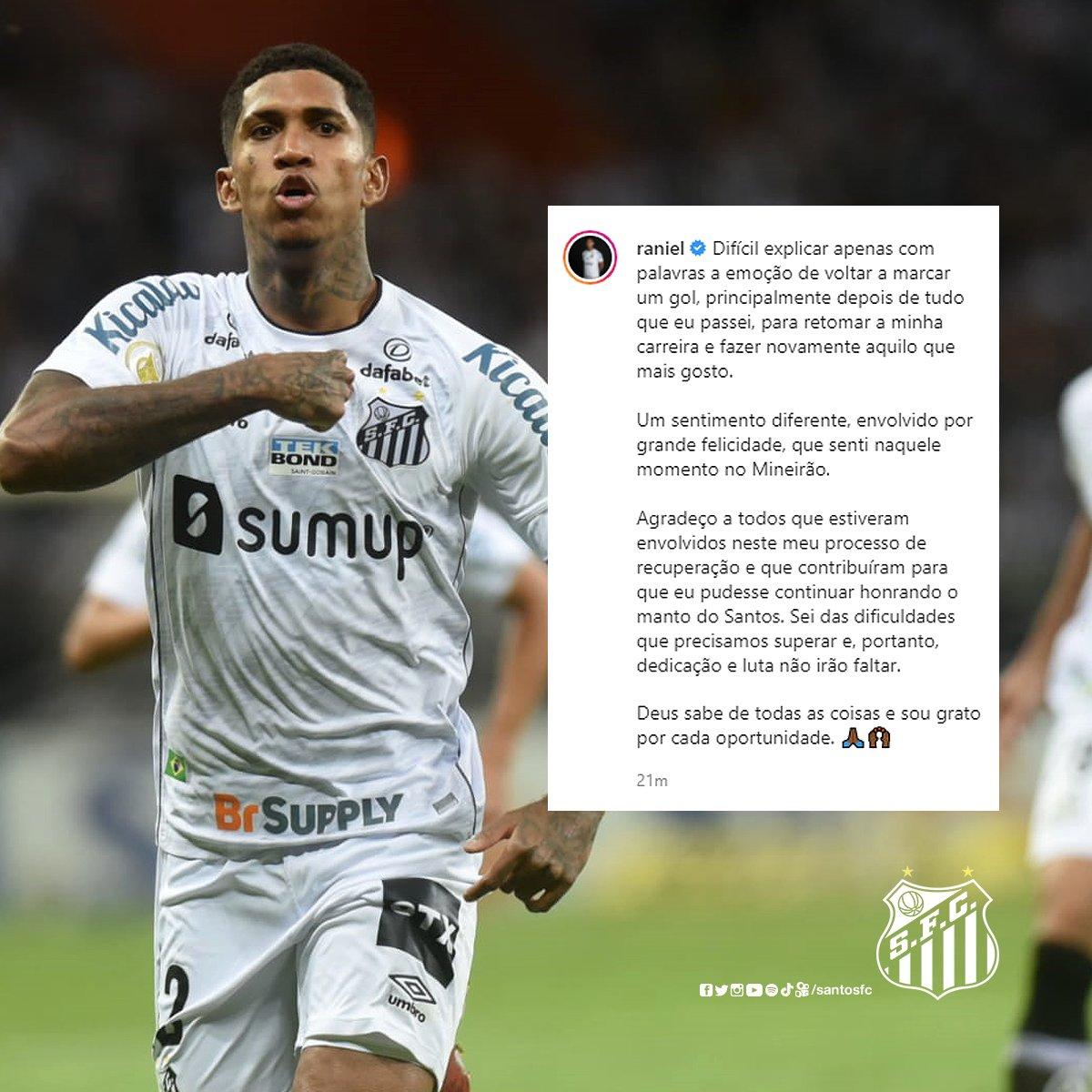 RT @SantosFC: Uma história de superação. Você merece, Raniel! 🤍🖤 https://t.co/1KgatyMSjn