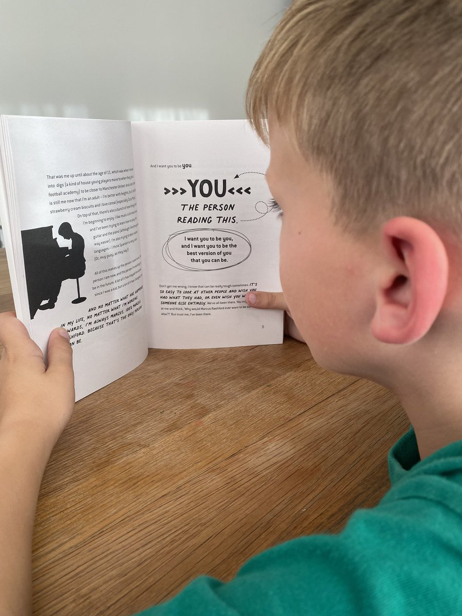 """Love listening to the boy read, especially @MarcusRashford """"YOU ARE A CHAMPION"""" book 📕 He's loving it 🙌🏼"""
