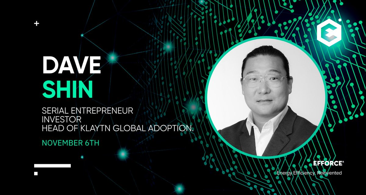 The next speaker we'd like to introduce is Dave Shin( @shin_novation ). With over 20 years of experience across the banking sector, Dave became one of the earliest Bitcoin advocates in Asia. Nowadays he's the Head of @klaytn_official Global Adoption. Join #EFFORCE Summit, Nov 6th