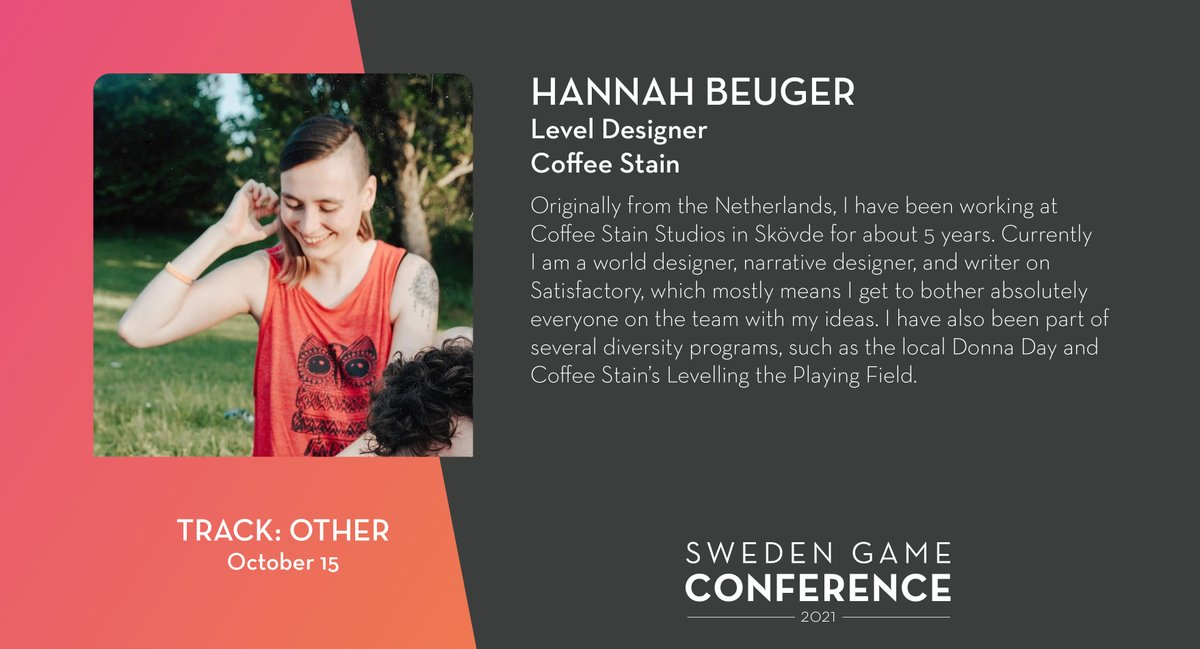 We welcome Hannah Beuger from @Coffee_Stain  as a panelist at Sweden Game Conference 2021! Read more about the speakers and panelists at Sweden Game Conference: https://t.co/kjIcYzUyja https://t.co/XMI9Y15XOA
