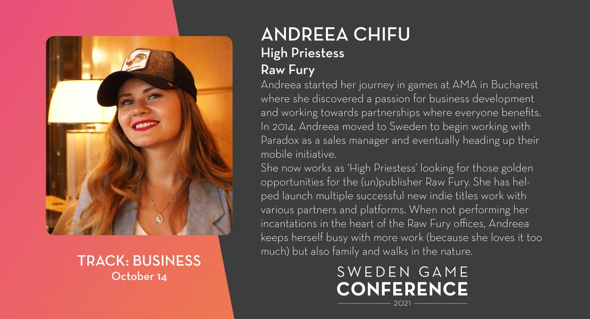 Join Andreea Chifu from @RawFury at the stage at Sweden Game Conference 2021!  https://t.co/3Nx3yZ3bfH https://t.co/Fhb4dUZU3a