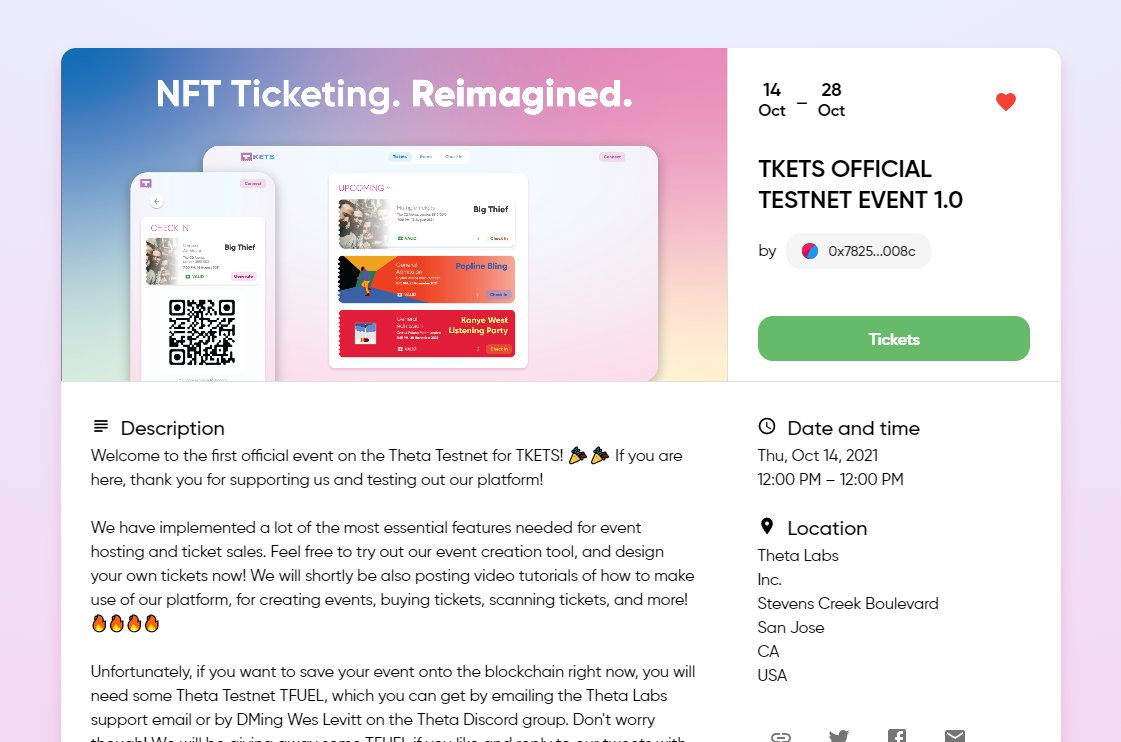 Looks great @TKETS_io team! Great UI and easy to use too. We're looking forward to seeing live events using TKETS on Theta blockchain soon!