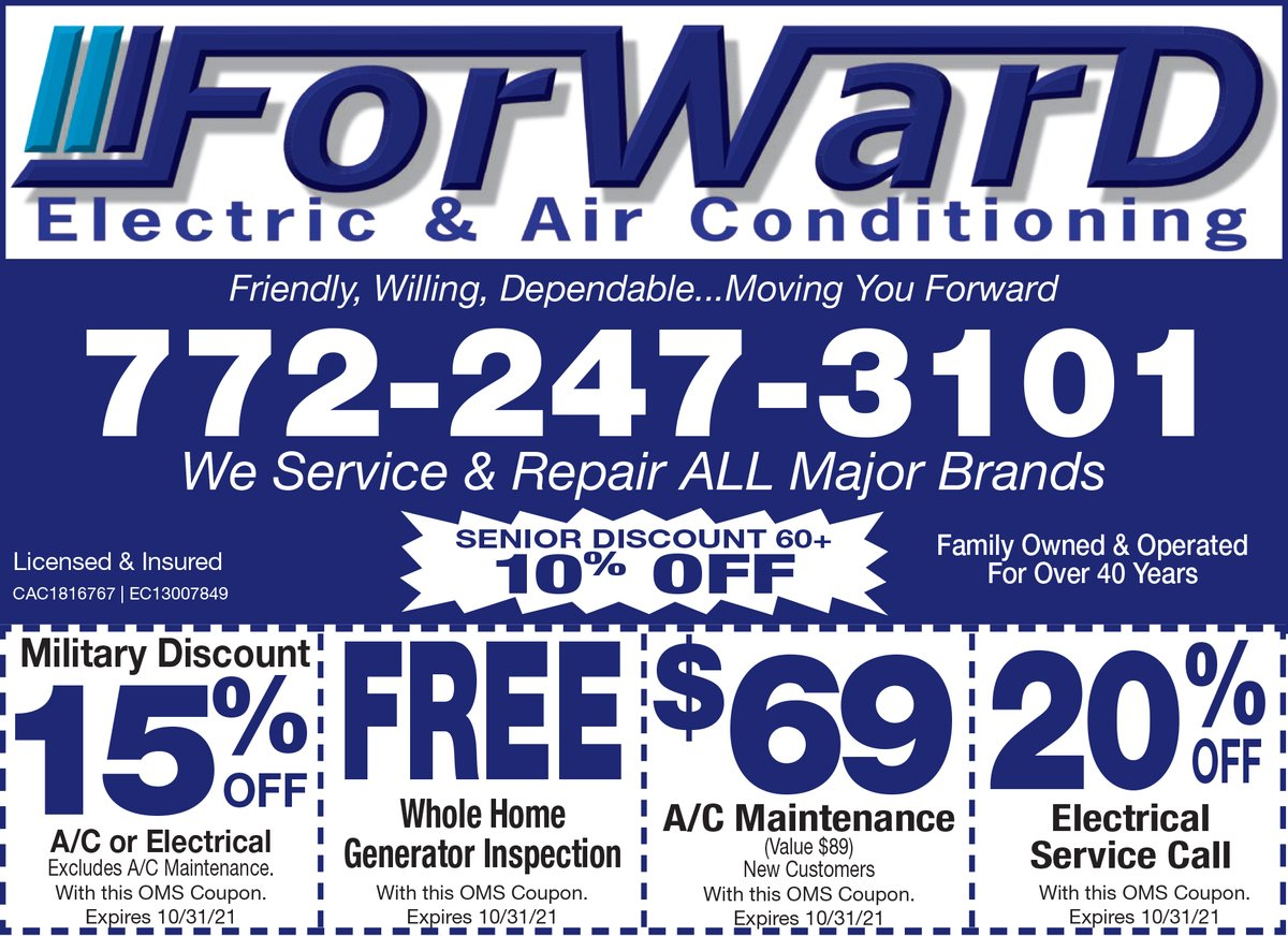 🔥SIZZLIN' DEAL🔥  It's Electric ⚡️ Boogie woogie with 20% OFF an electrical service call from Forward Electric and Air Conditioning 🔌💡  #Electrician #AC #MilitaryDiscount #Electrical #ACMaintenance #ACService #GeneratorInspection #Coupons #SaveMoney #MartinCounty #Stuart