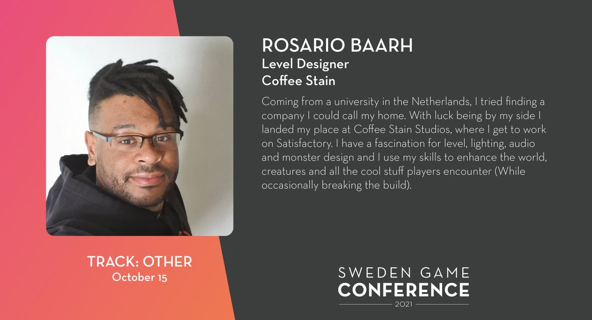 We welcome Rosario Baarh from @Coffee_Stain as a panelist at Sweden Game Conference 2021! Read more about the speakers and panelists at Sweden Game Conference: https://t.co/kjIcYzUyja @RosarioBaarh https://t.co/rQOBVjvwW5