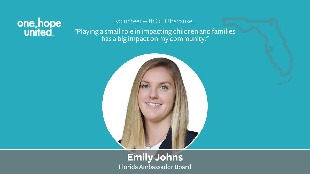 test Twitter Media - Emily Johns serves on One Hope United's Florida Ambassador Board. Thank you, Emily, for everything you do!  Do you want to make a difference in the life of a child, youth, or family? Learn how you can get involved with One Hope United: https://t.co/W0m3Ir2wW6 https://t.co/byJXuJvMMS
