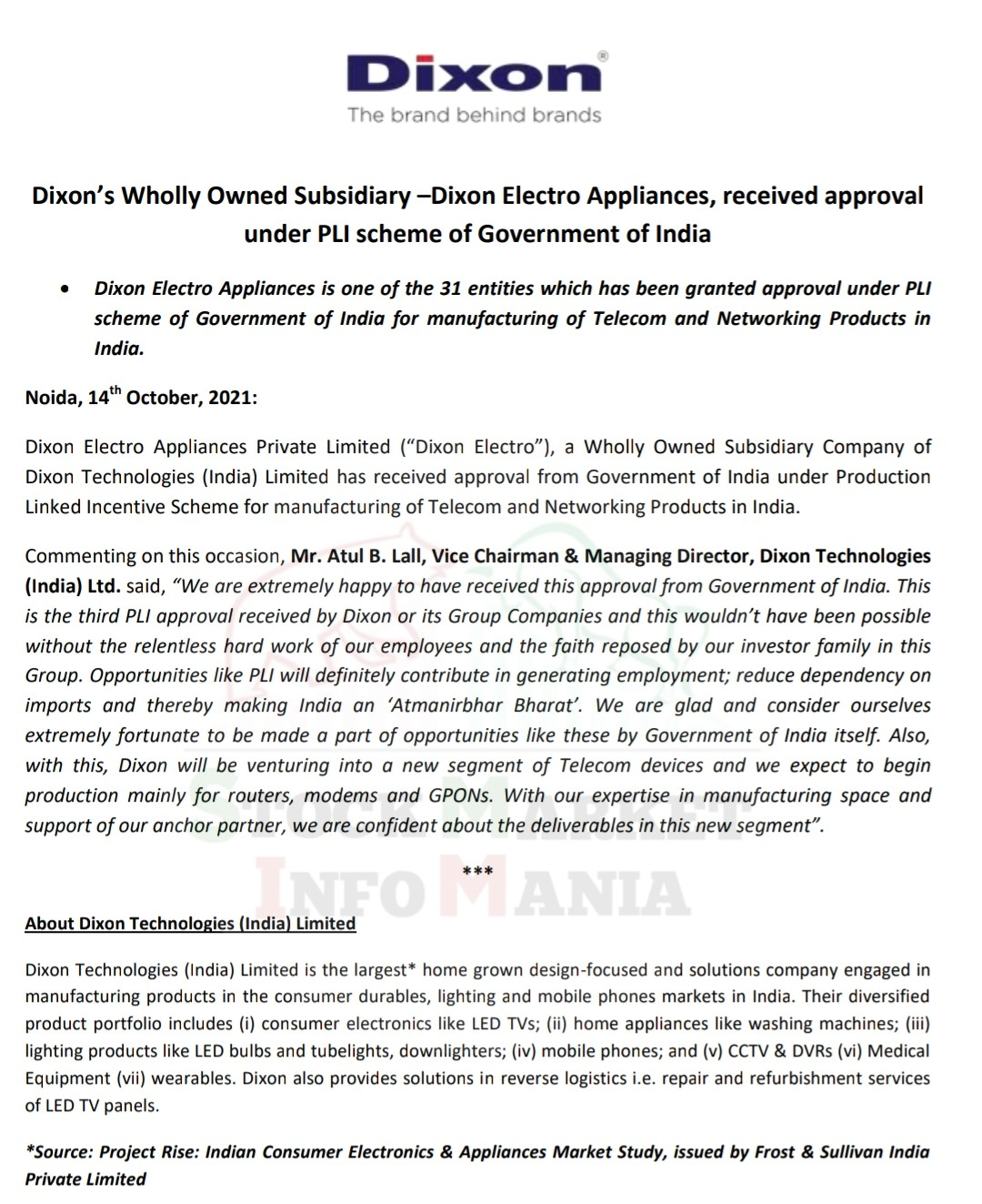 Dixon Electro Appliances, received approval under PLI scheme of Government of India