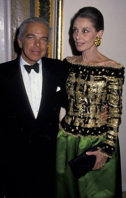 Happy birthday, Ralph Lauren, photographed with Audrey Hepburn at the Casita Maria Fiesta Benefit in 1992