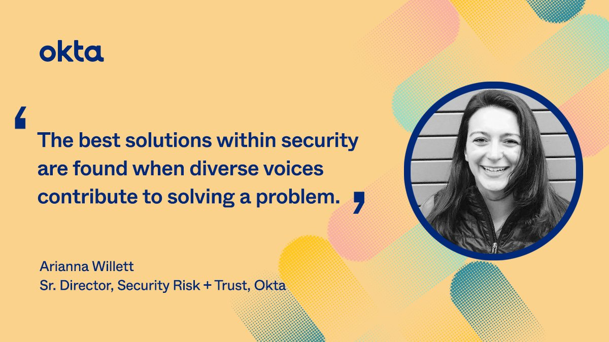 Okta's Senior Director, Security Risk & Trust + Cyber Security Advocate, Arianna Willett knows that inclusivity + diversity are essential to overcoming challenges in security. Here's what Diversity, Inclusion + Belonging means to us at Okta: bit.ly/3lBLBuM
