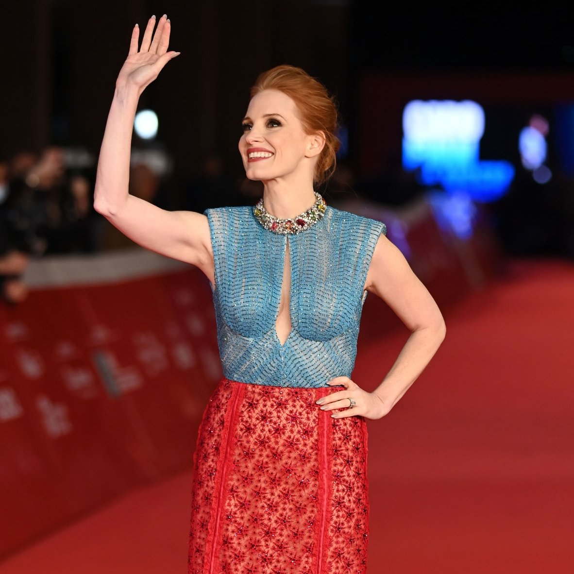 📸| Jessica Chastain during #TheEyesOfTammyFaye premiere in Rome Film Festival today.