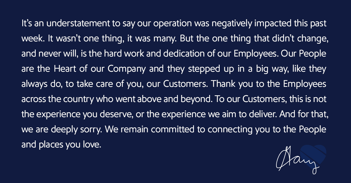 There's a lot to say about what happened over the last several days, but we'll start with the most important message: we're sorry. Cancelling thousands of flights & displacing Customers isn't what we want for you, nor is it what you should expect from us. swa.is/explanation