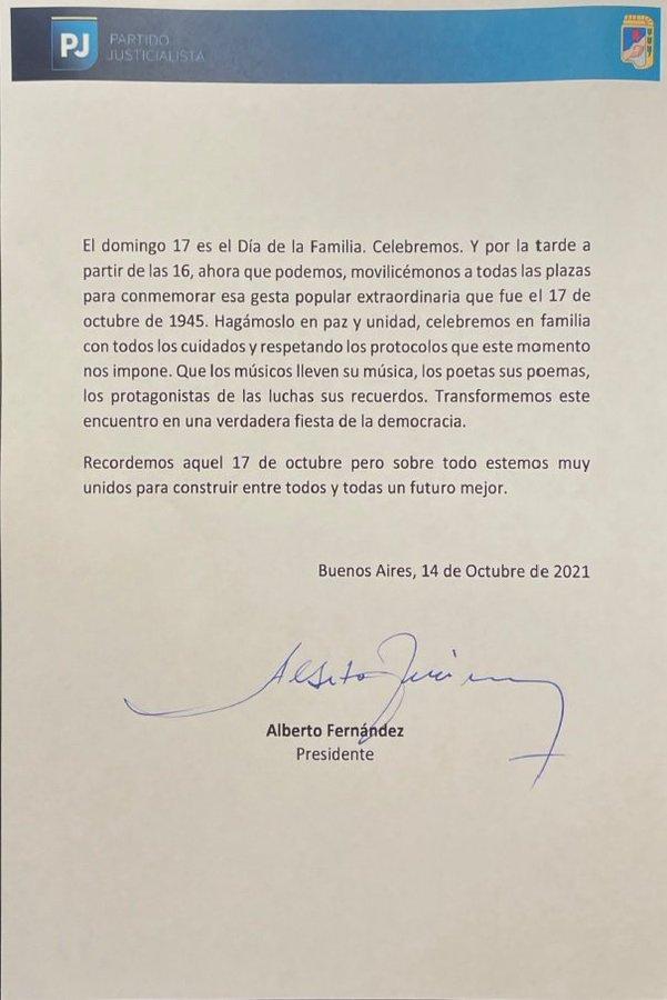 """Alberto Fernández llamó a movilizar por el 17 de octubre en """"todas las plazas"""""""
