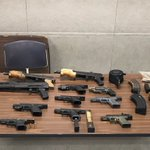 Image for the Tweet beginning: #SLMPD officers recovered these firearms