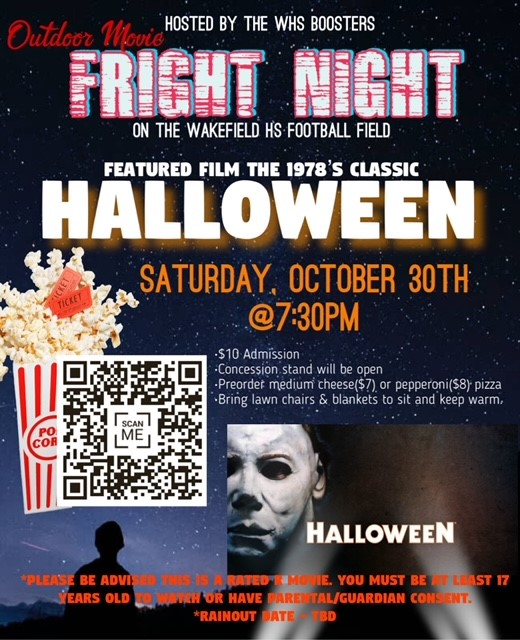 Want to have some fun with friends in a safe space and enjoy a good movie at the same time? Support our Booster Club <a target='_blank' href='http://twitter.com/WakefieldBoost1'>@WakefieldBoost1</a> by coming to their Halloween Movie Night Event!! <a target='_blank' href='https://t.co/xFdO1vRlN6'>https://t.co/xFdO1vRlN6</a>