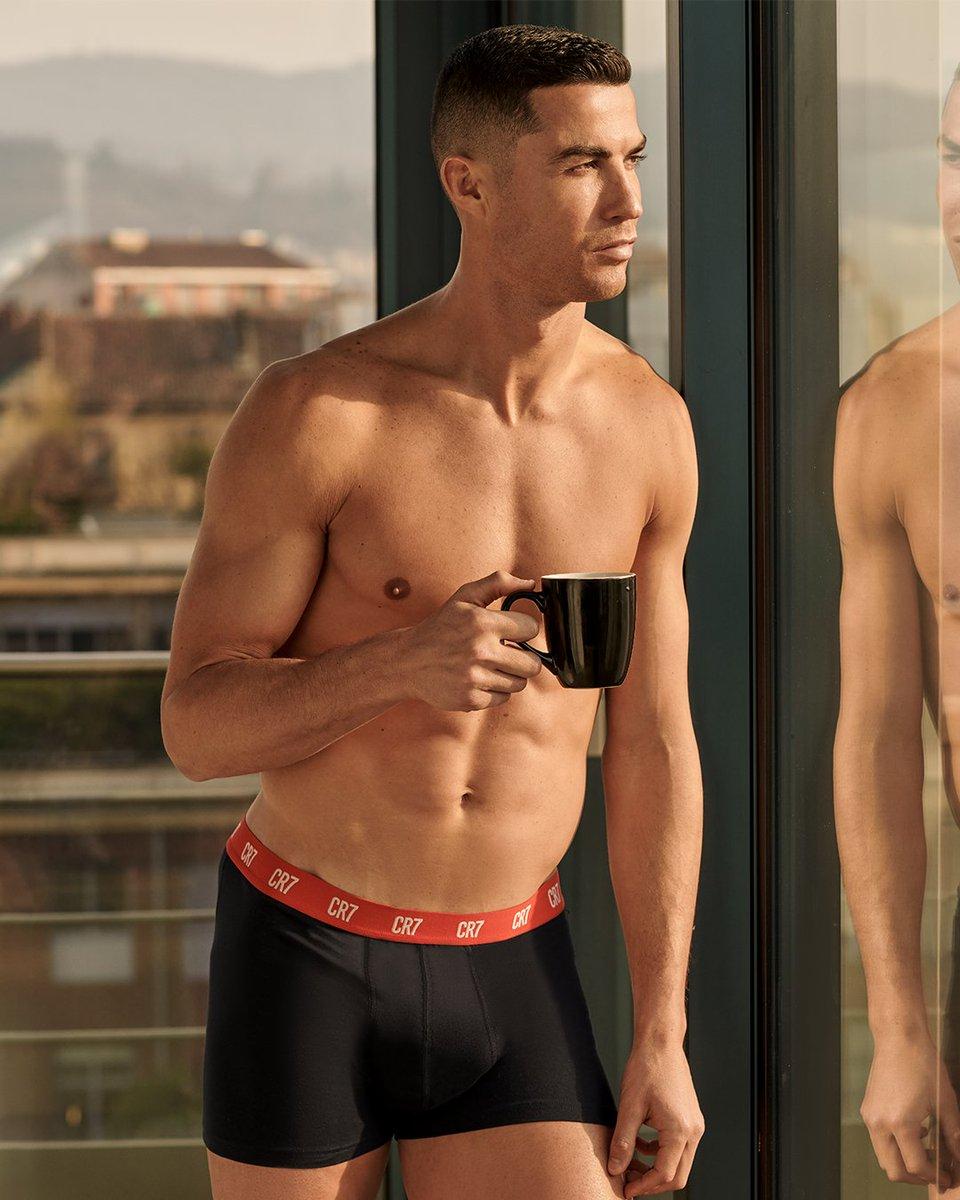 Morning essentials: coffee and motivation.  #CR7UNDERWEAR