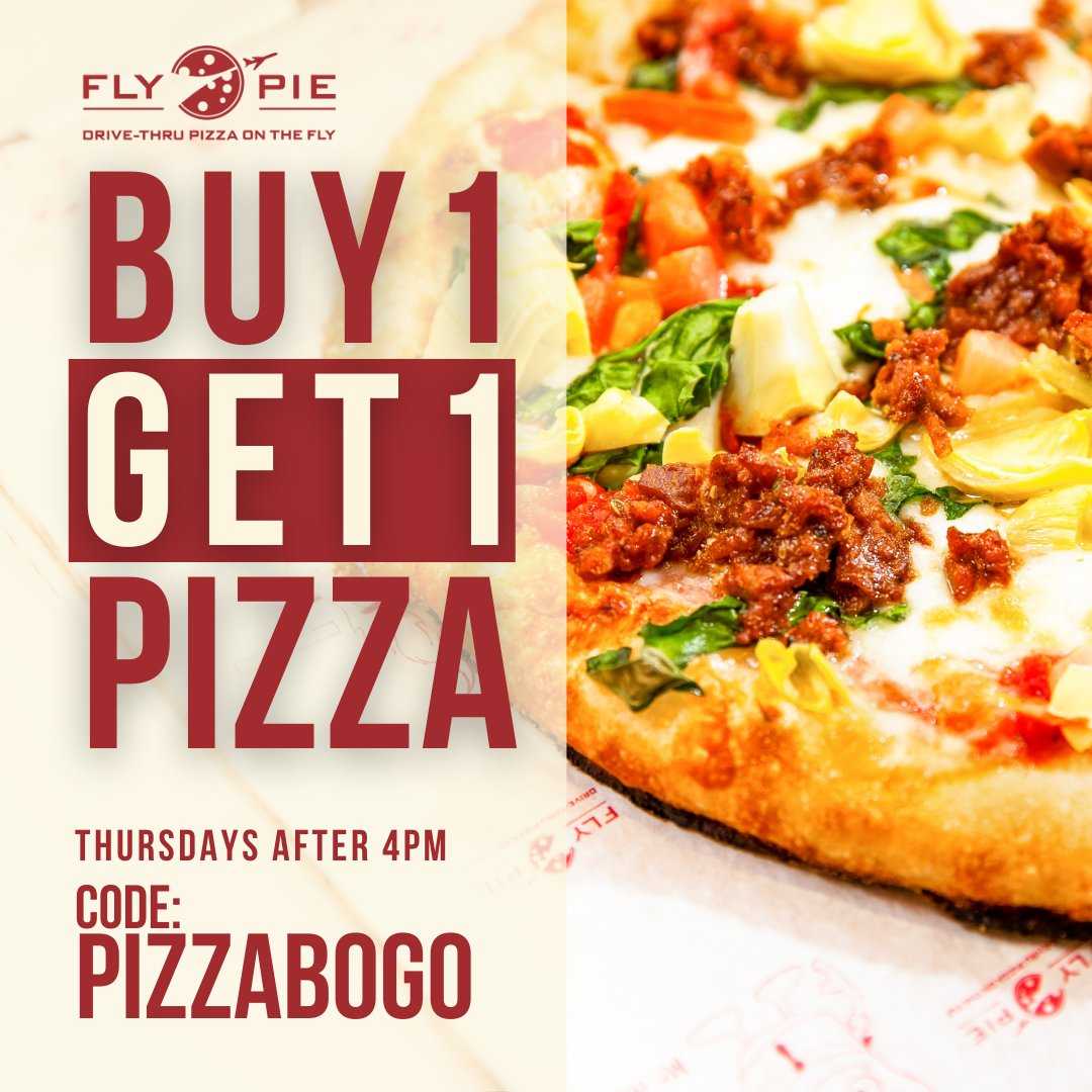 It's Bogo Time!   Buy one pizza. Get one pizza FREE   Use Promo Code PIZZABOGO Valid only on Thursdays after 4pm. *Offer may not be combined with other offers or discounts.*  #flypiepizza #flythetunnel #discount #vegasdiscount