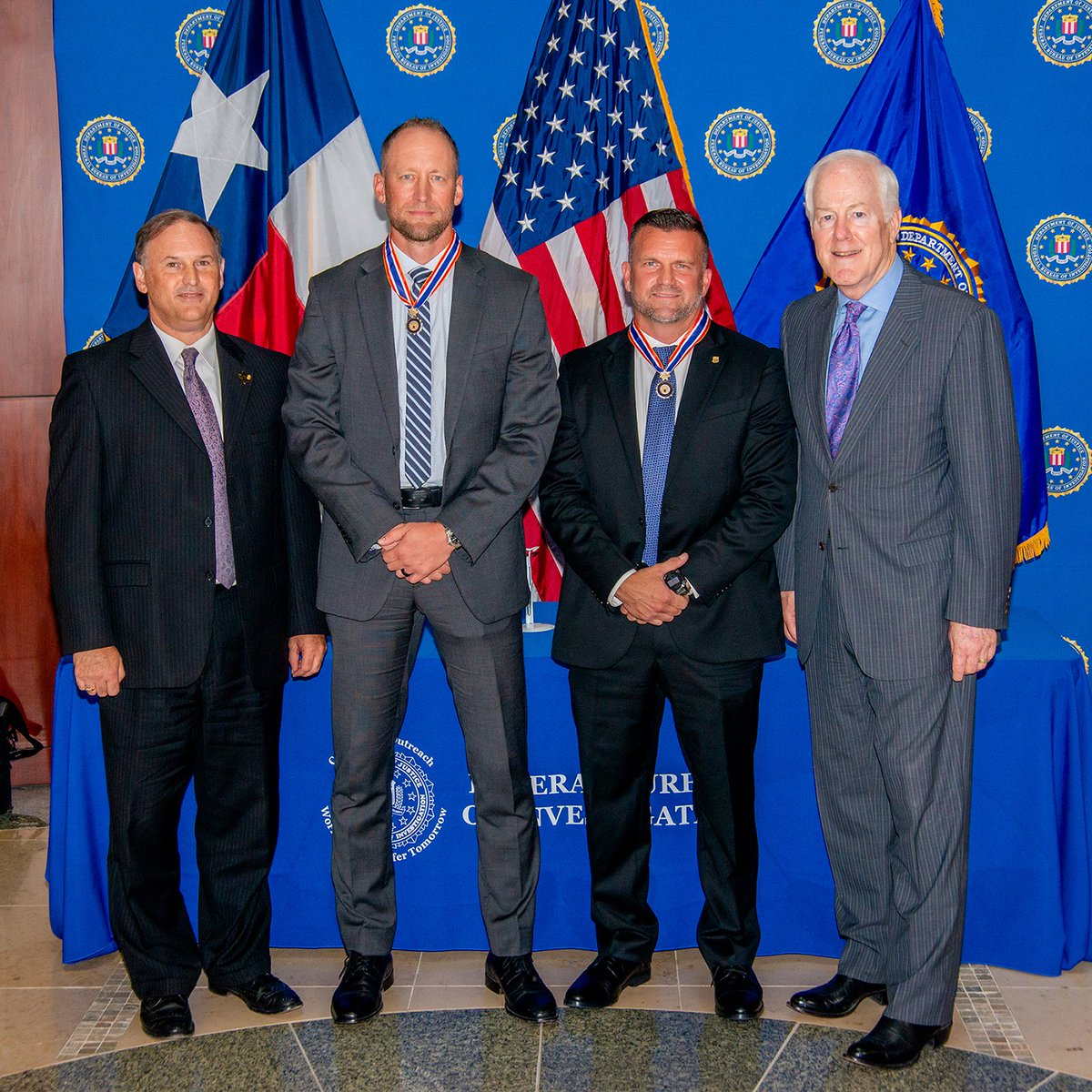 Special Agents Jeb Killion and Marcus Washington of @FBISanAntonio recently received the Congressional Badge of Bravery for their courage during an operation. Their actions prevented an armed subject from potentially harming SWAT team members with an improvised explosive device.