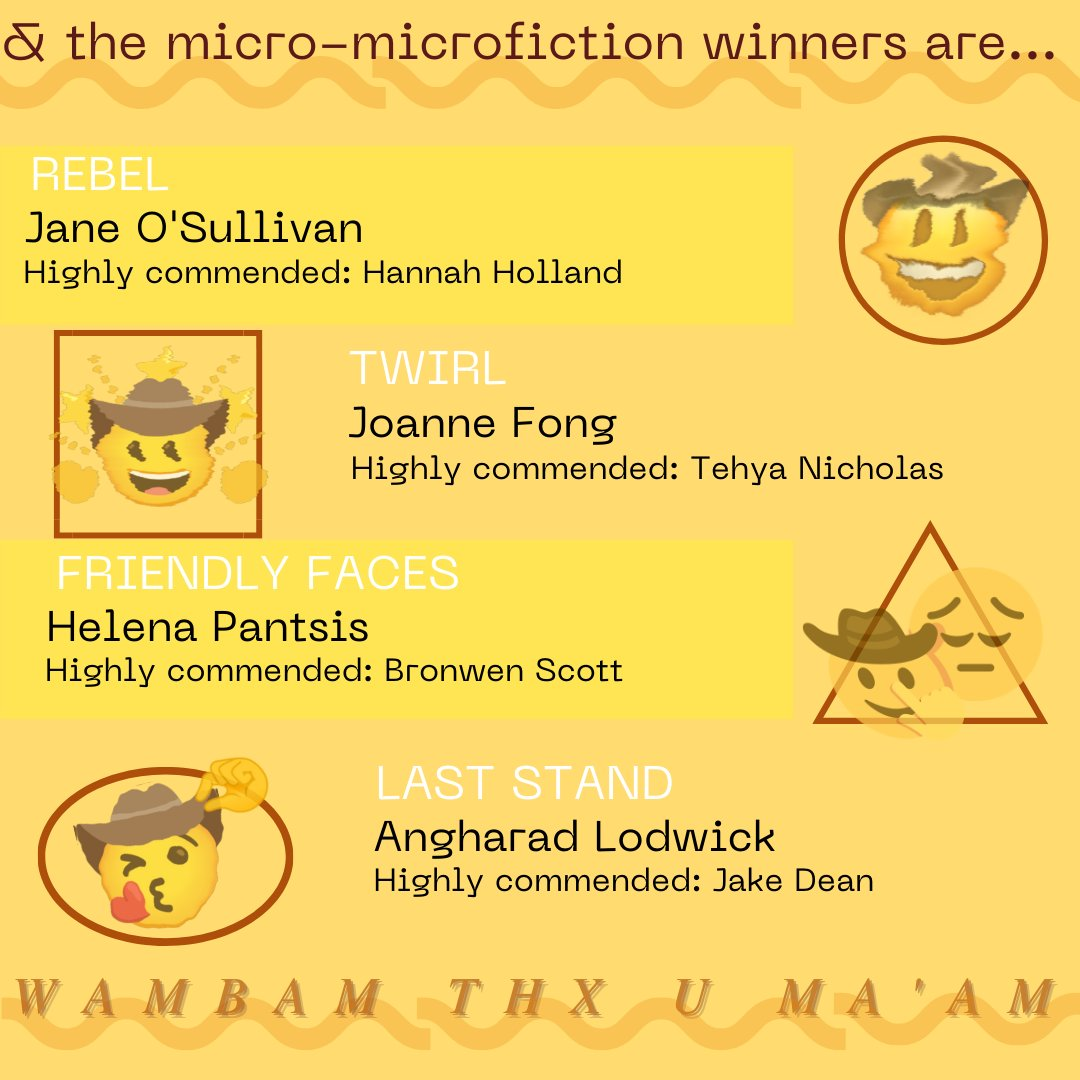 Tile announcing micro-microfiction challenge winners and highly commended entries. Yellow background with cowboy emojis.  Text reads:  DAY 1 REBEL – Winner: Jane O'Sullivan, HC: Hannah Holland DAY 2 TWIRL – Winner: Joanne Fong, HC: Tehya Nicholas DAY 3 FRIENDLY FACES – Winner: Helena Pantsis, HC: Bronwen Scott DAY 4 LAST STAND — Winner: Angharad Lodwick, HC: Jake Dean  Wambam Thx Y Ma'Am