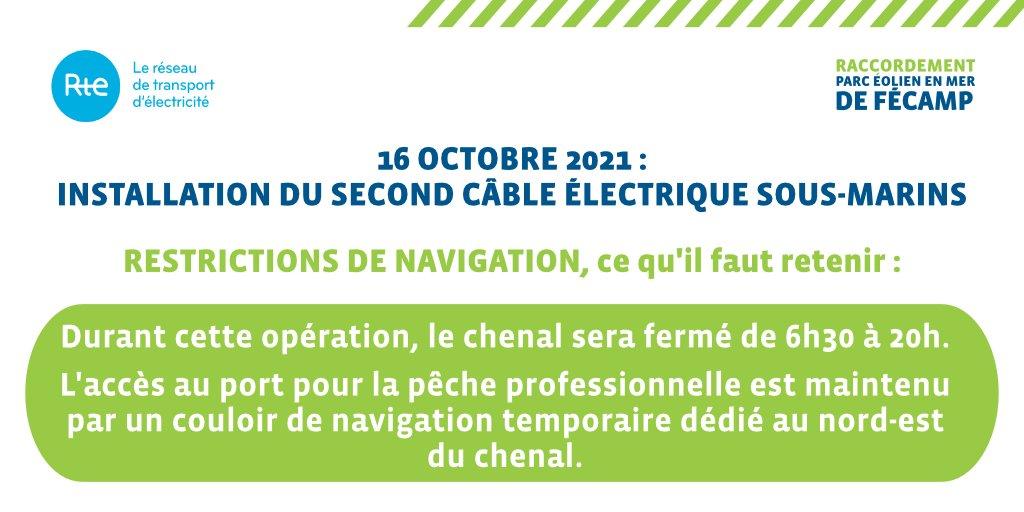 #EolienEnMerFecamp [Info]⚠️Les opérations de câblage de @RTE_idfn se poursuivent à @VilleDeFecamp avec une fermeture temporaire exceptionnelle du chenal d'accès au port.