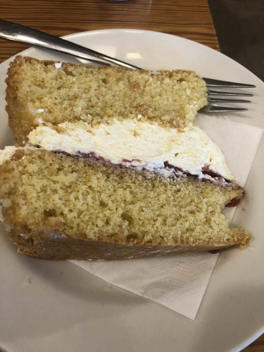 Never too early for 🍰. Victoria sponge with fresh cream (lots of) and raspberry jam. #TheSmiddy, Blair Drummond. @StirlingAWS