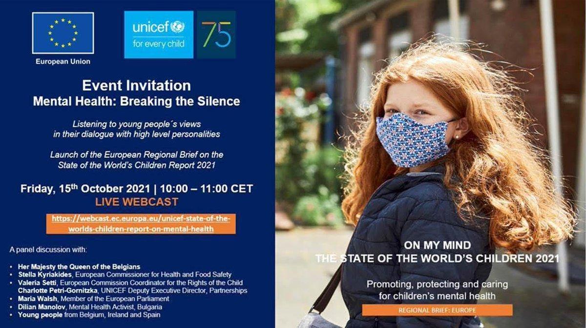 Live Webcast idag: Europas barns psykiska hälsa måste få högsta prioritet. Missa inte EU-kommissionens live stream av UNICEFs aktuella rapport State of the World Children med fokus på Europa.Idag kl 10 CET 👉https://t.co/k3TS0S6Z3g   #OnMyMind https://t.co/14QRKC0bYI