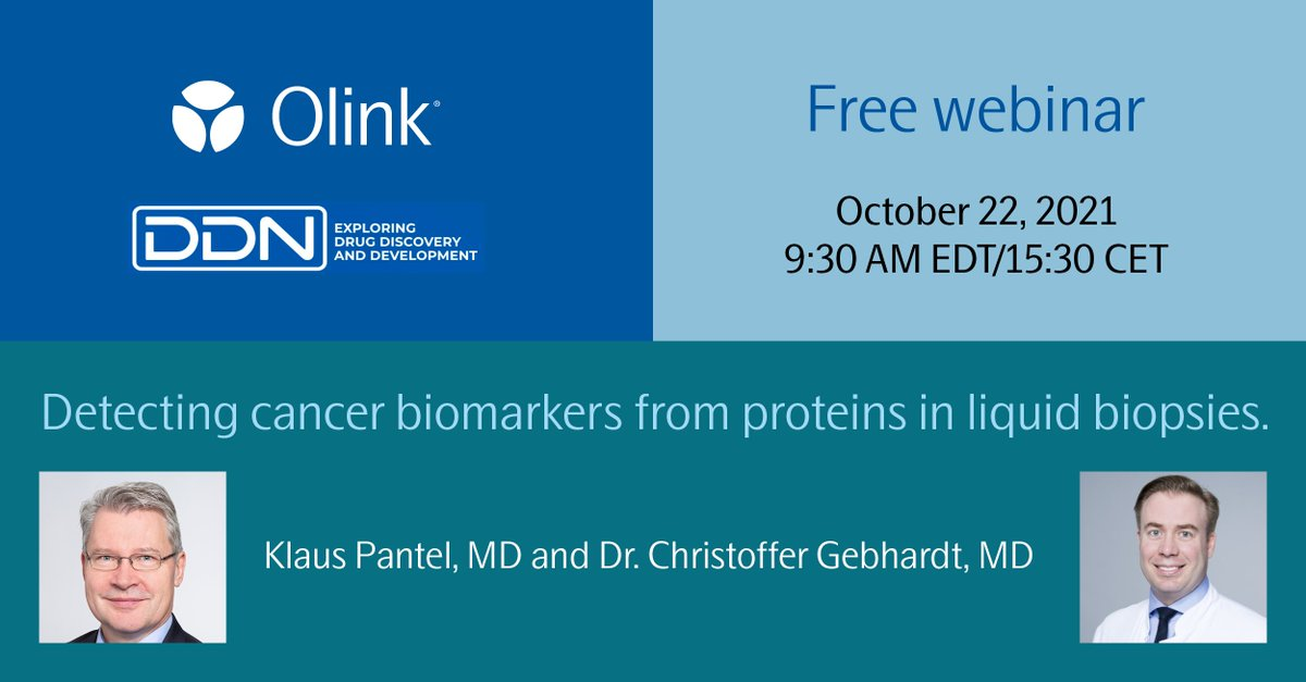 """Join our Olink-sponsored @Drug Discovery News #webinar """"Detecting Cancer Biomarkers from Proteins in Liquid Biopsies"""" on October 22, 2021. Read more and register: https://t.co/O85SrmHfns https://t.co/UPliuJeE0W"""