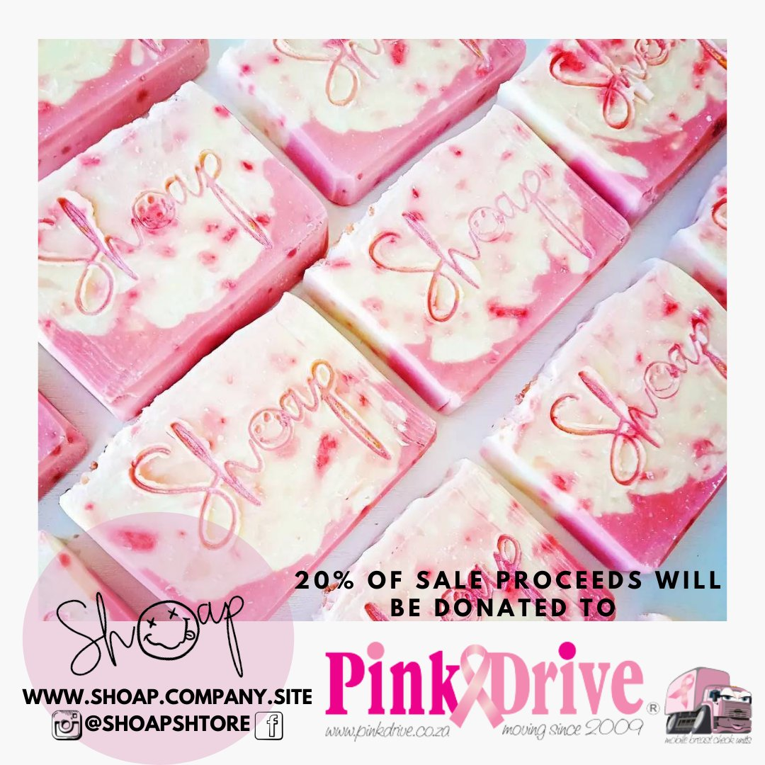 Shoap, creator of handcrafted soap, has chosen PinkDrive as a beneficiary of their Himalayan Pink Salt soap bar. R120 per bar. 20% Of the proceeds will go to PinkDrive. Purchase yours today - shoap.company.site/Himalayan-Pink…. While stocks last @ShoapShtore