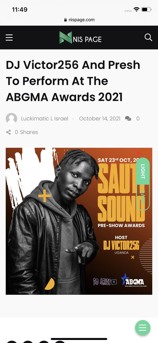 Raise the roof 🙌🏽 I passed the test I shine bright I stand out… destined for greatness @ABGMAwards 🇦🇬  Waving🇳🇬🇺🇬flag all the way for JESUS🙏🏾 @a_king_maker   Read more on @nispageug   nispage.com/dj-victor256-t…