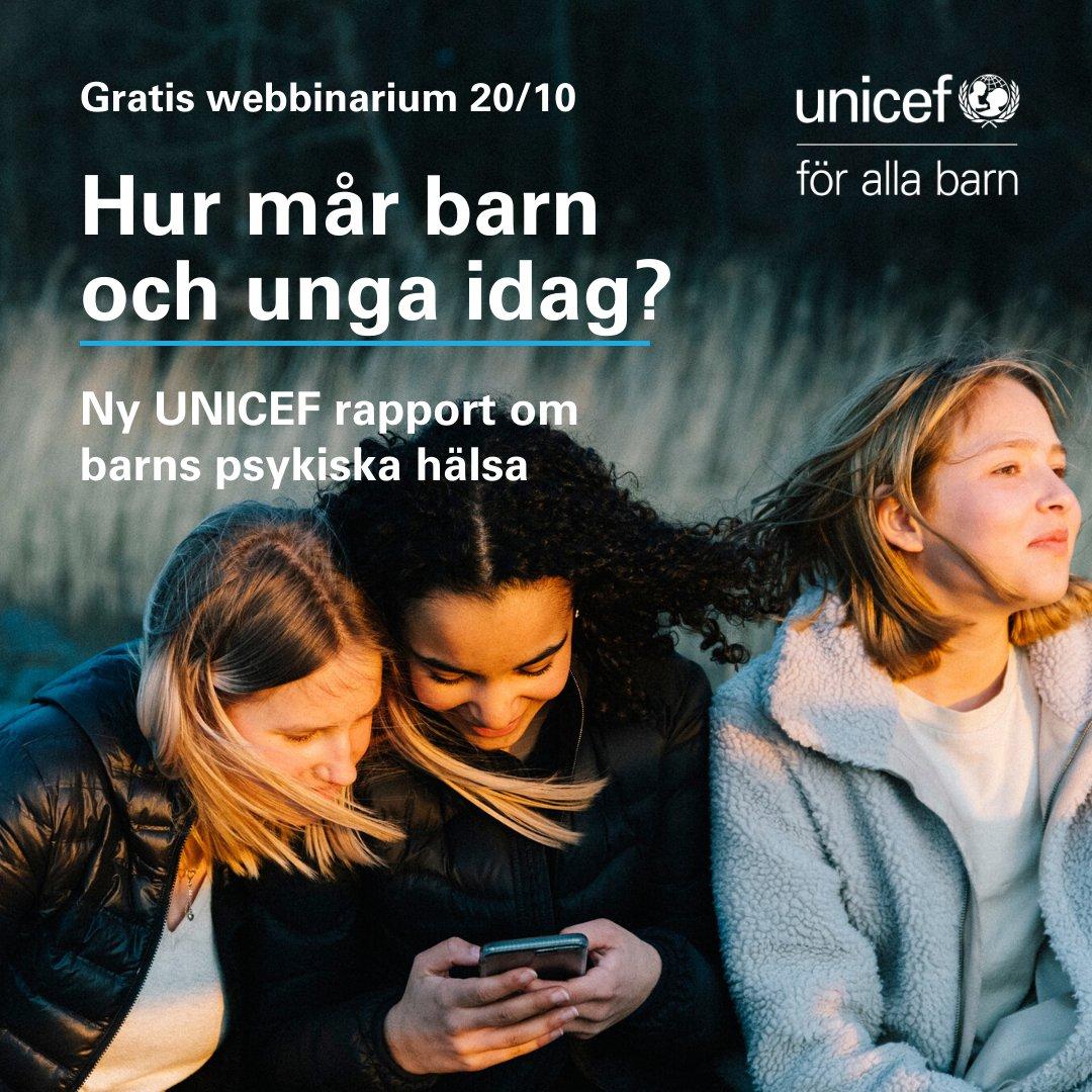 Välkommen på live webbinarium om barn och ungas psykiska hälsa den 20/10. Vi tar avstamp i UNICEFs aktuella rapport och diskuterar åtgärder på såväl global som nationell nivå. Det är dags att lyssna på barns röster - och agera! Anmäl dig idag  https://t.co/oIZYolMqu5  #OnMyMind https://t.co/GPLxrjKWr5