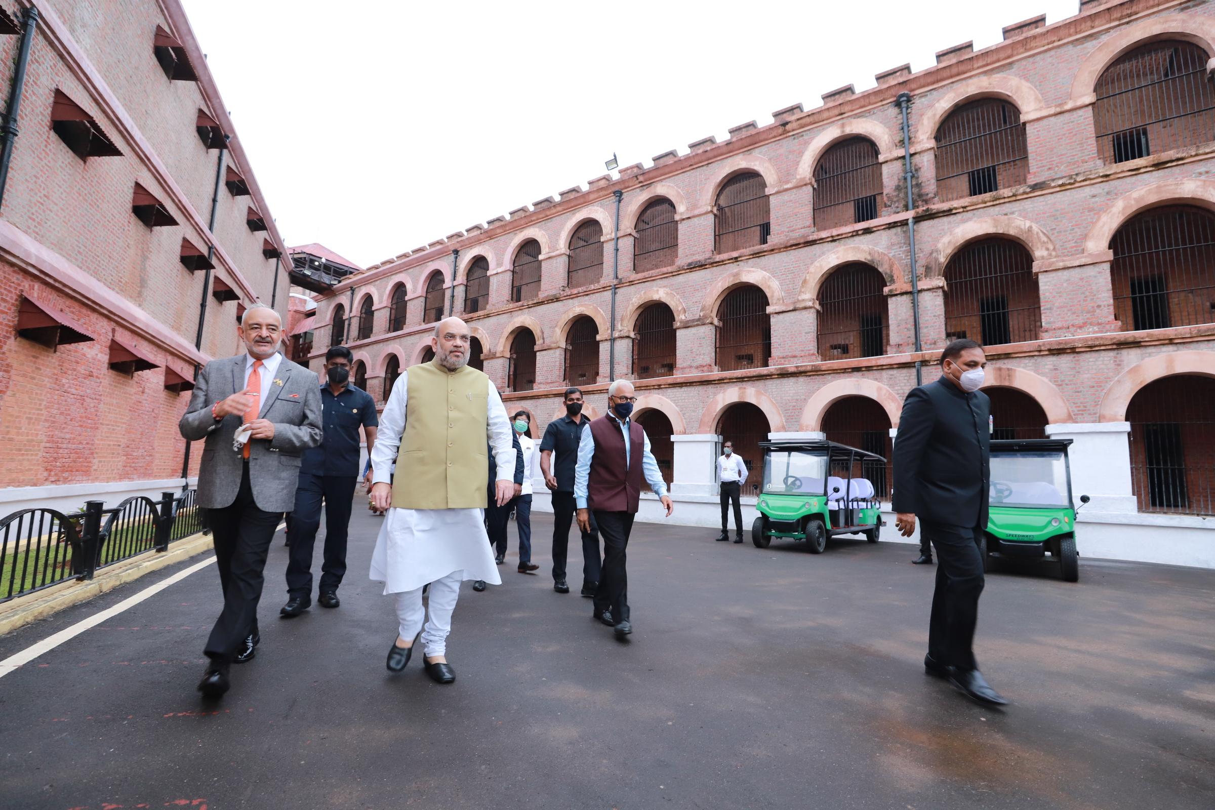 Amit Shah visits cellular jail in Andaman and Nicobar Islands