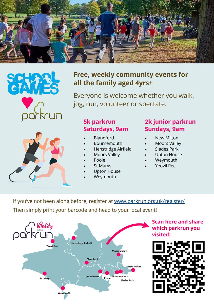 We❤️@parkrunUK & are lucky enough to have many  of these free community events across the county. Everyone is welcome whether they walk, run or volunteer. Find your local event here, give it a try & let us know which one you visited! #60activeminutes #loveparkru @YourSchoolGames