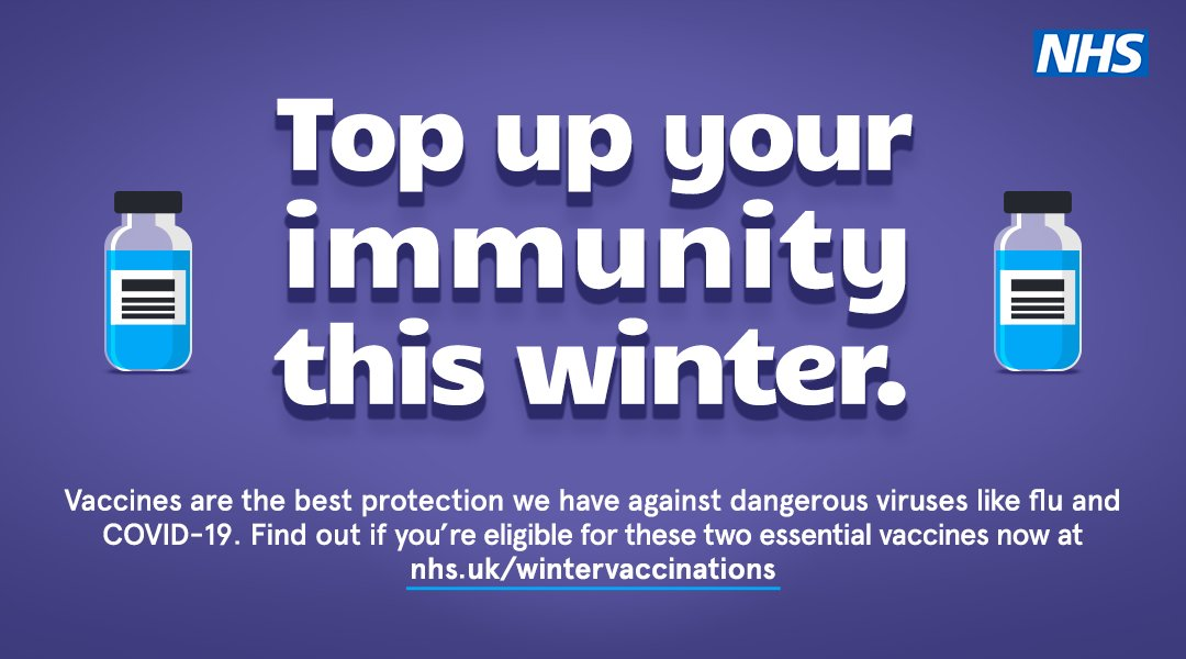 Vaccines are the best protection we have against dangerous viruses like flu and COVID-19. Find out if you're eligible for these two essential vaccines now at nhs.uk/WinterVaccinat…