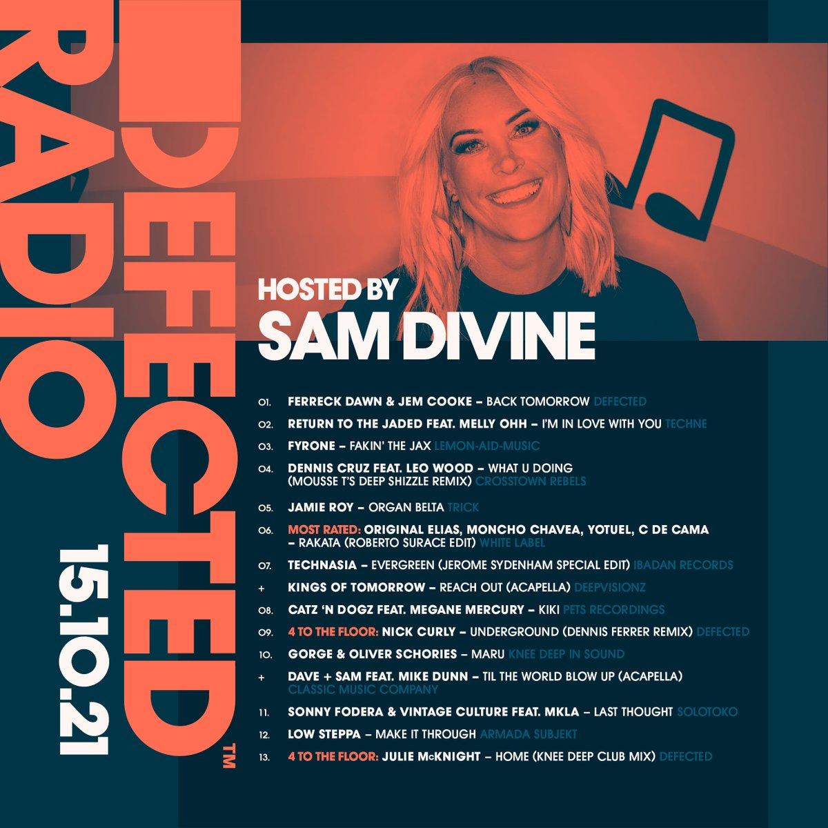 .@samdivine delivering this week's heat. Music from @denniscruzdj @moussetofficial @sonnyfodera @VintageCulture @jamieroyuk @Catz_n_Dogz @Lowsteppa & more... DefectedRadio.lnk.to/Shows