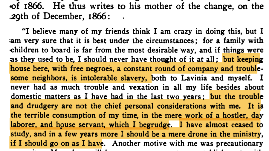 It's humbling to consider how much our our intellectual history was achieved by those who found the space to learn by offloading the daily work of living onto unpaid, unrecompensed, unappreciated others.