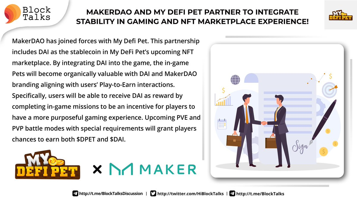 MakerDAO (@MakerDAO) and My Defi Pet (@MyDeFiPet) Partner to Integrate Stability in gaming and NFT marketplace experience 👉🏻 mydefipet.medium.com/makerdao-and-m…