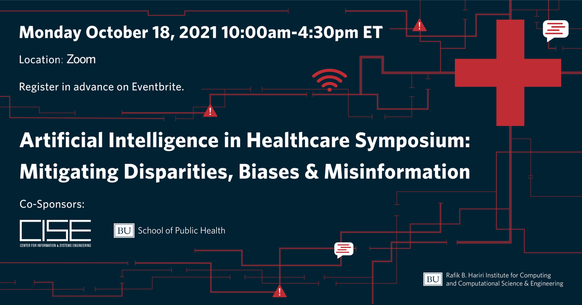 Join BMC's @rmishuris, @HEHsuMD, and @assoumou_MD in @BU_Computing's virtual symposium, AI in Healthcare: Mitigating Disparities, Biases & Misinformation, on Monday starting at 10am!Register for the free event here: https://t.co/1QR8eiMIHw